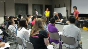 留学生の防災訓練の様子
